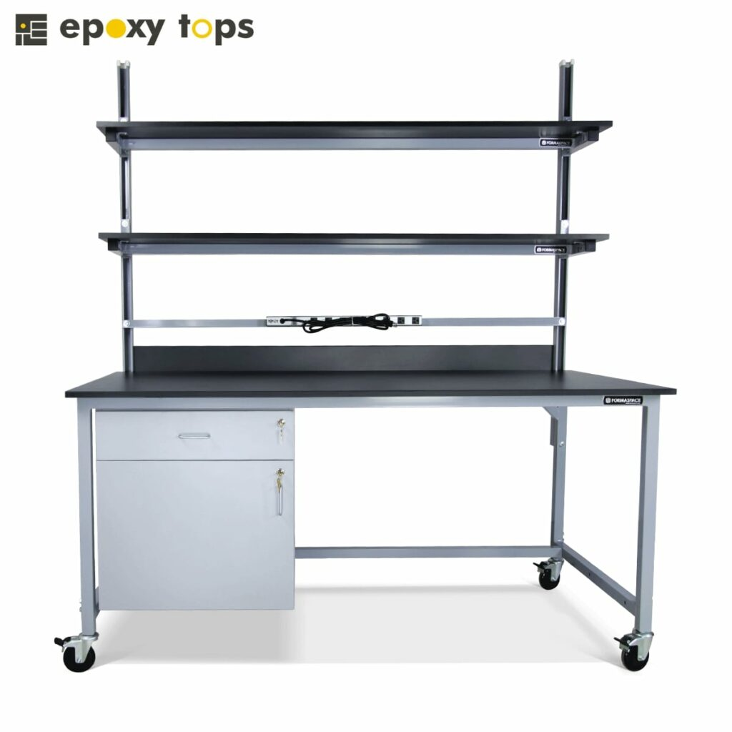 workbench with shelves and storage
