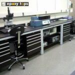 Sample processing laboratory bench with storage