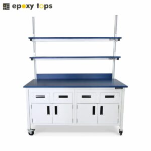 laboratory bench with shelves