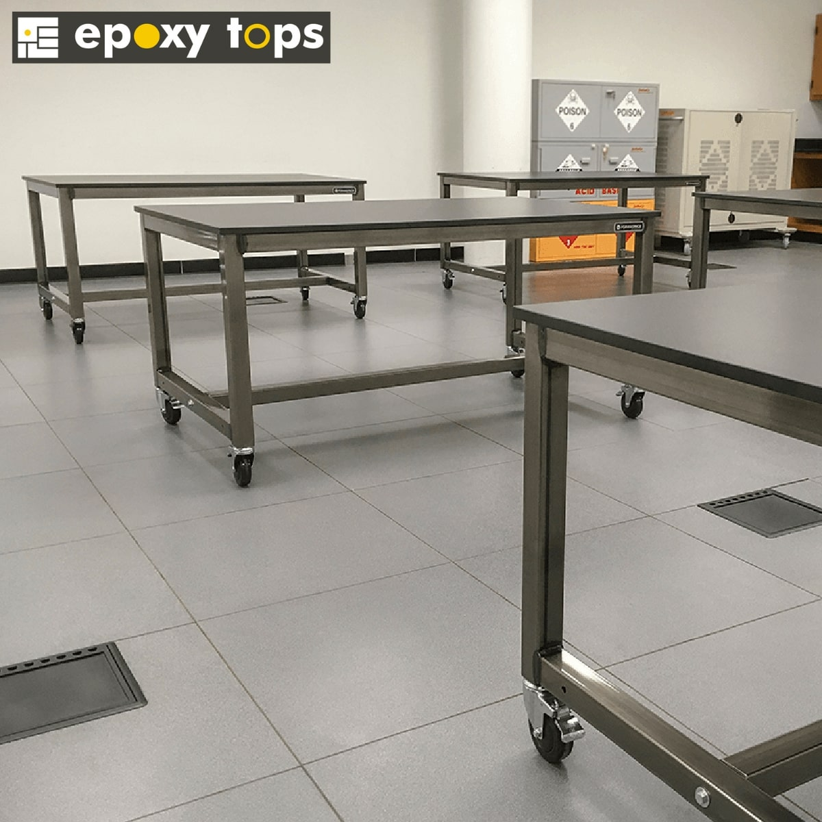 epoxy workbenches with casters