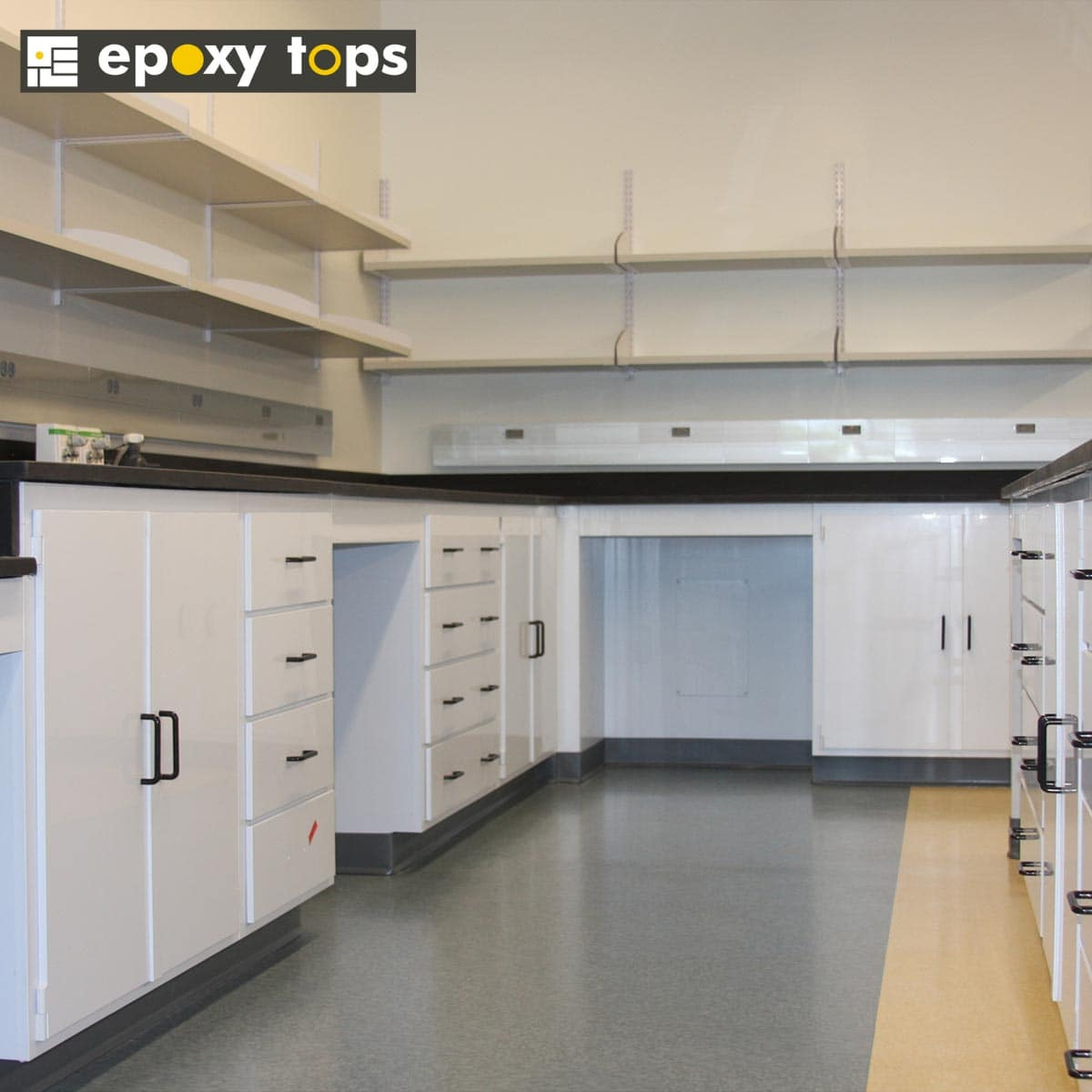 white chemical resistant casework