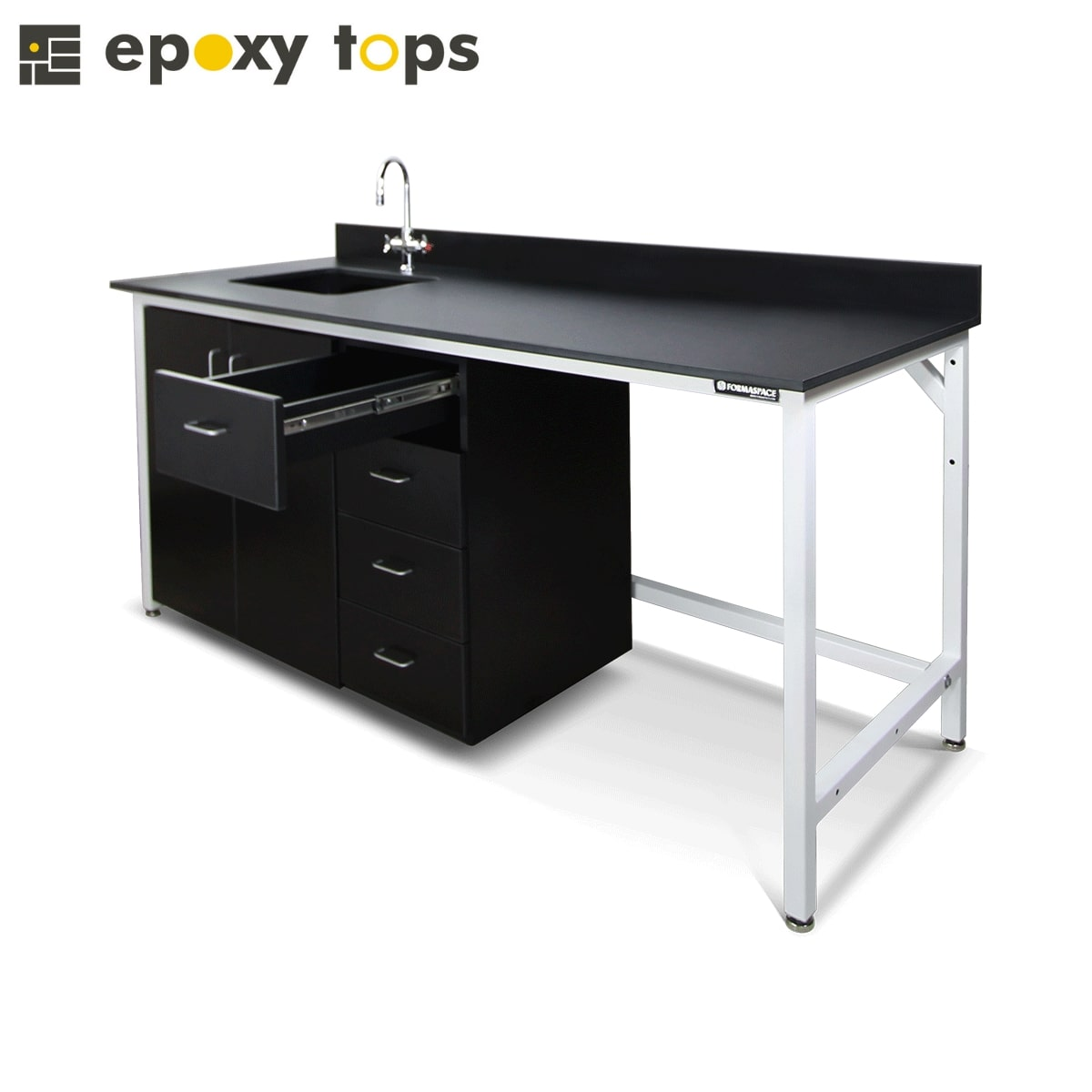lab workbench with sink and storage units
