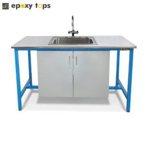 custom made workbench with sink