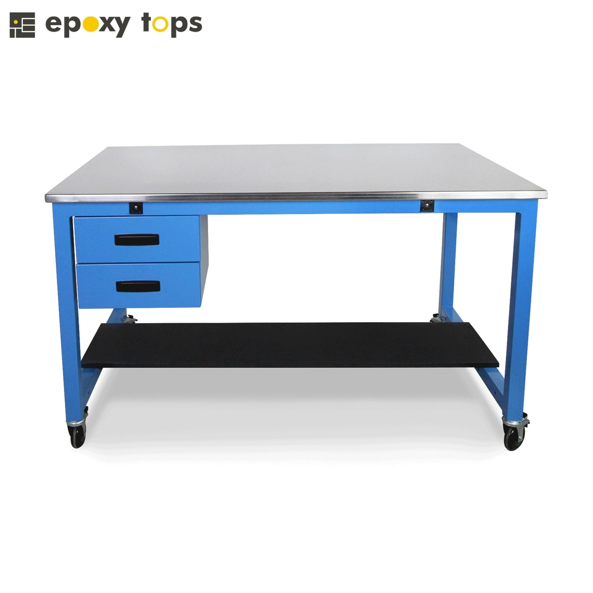 blue stainless steel bench