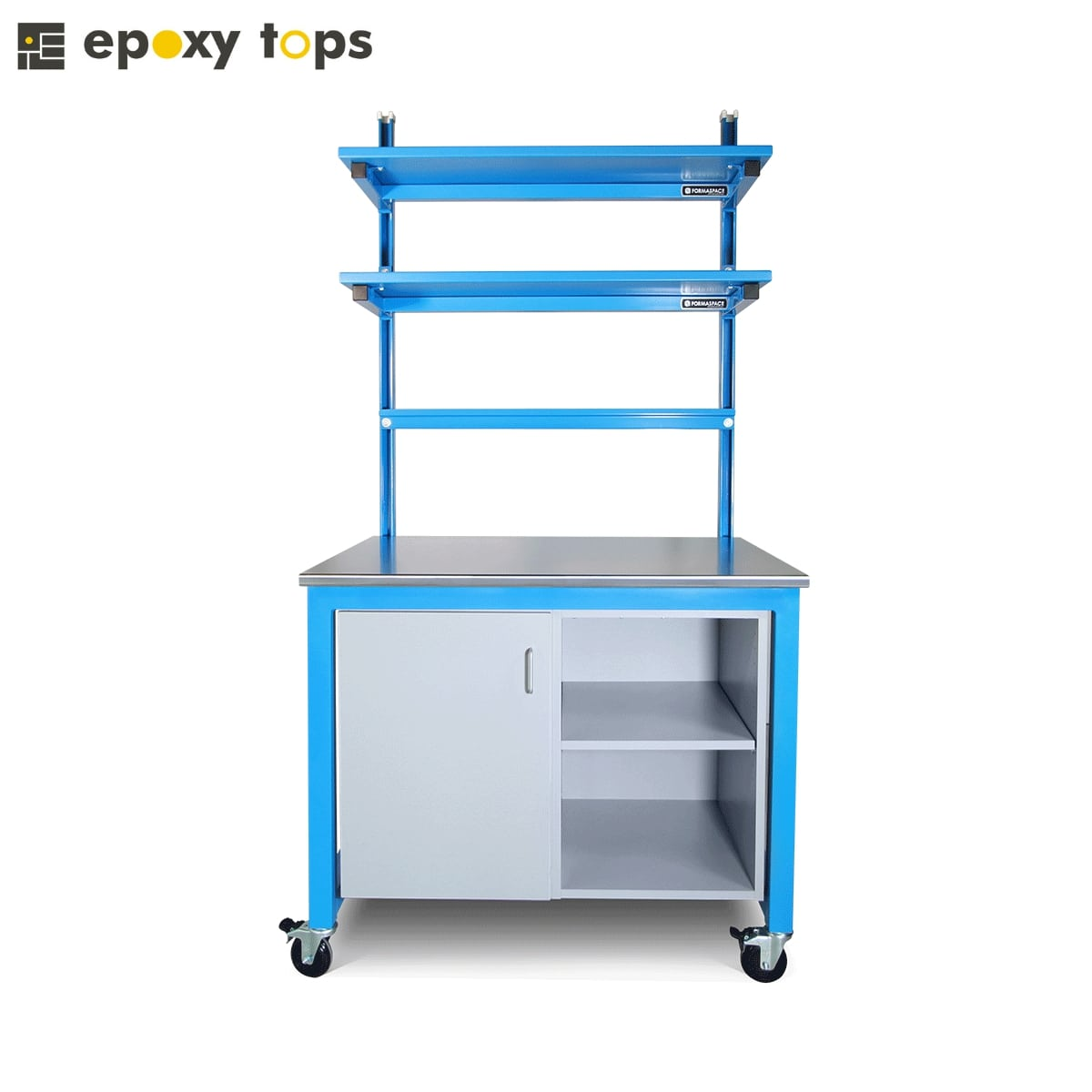blue workbench with storage